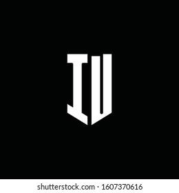 IU logo monogram with emblem style isolated on black background