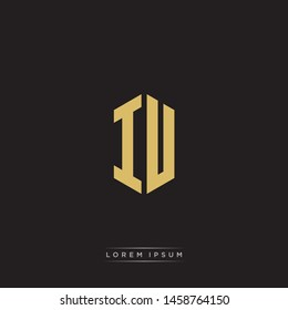 IU I U Logo Emblem Hexagon Capital Letter Modern Template