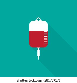IV bag icon, flat style - Vector
