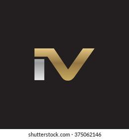 IV company linked letter logo golden silver black background