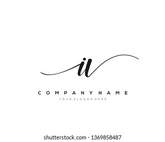 IV handwriting initial  logo vector