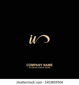 IV Initial handwriting logo vector