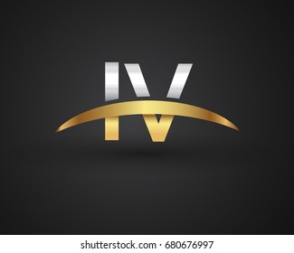 IV initial logo company name colored gold and silver swoosh design. vector logo for business and company identity.