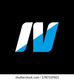 IV letter logo design on black background. IV creative initials letter logo concept. iv icon design. IV white and blue letter icon design on black background. I V