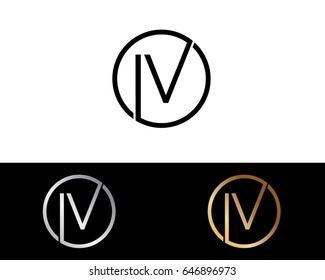 Iv Logo. Letter Design Vector with Red and Black Gold Silver Colors