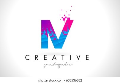 IV I V Letter Logo with Broken Shattered Blue Pink Triangles Texture Design Vector Illustration.