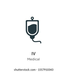 Iv vector icon on white background. Flat vector iv icon symbol sign from modern medical collection for mobile concept and web apps design.
