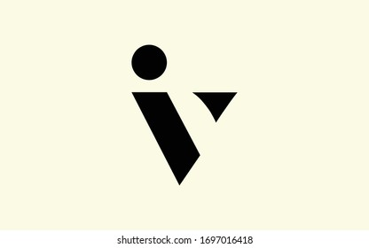 iv or vi and i or v Letter Initial Logo Design, Vector Template
