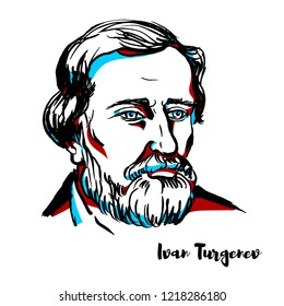 Ivan Turgenev engraved vector portrait with ink contours. Russian novelist, short story writer, poet, playwright, translator and popularizer of Russian literature in the West.