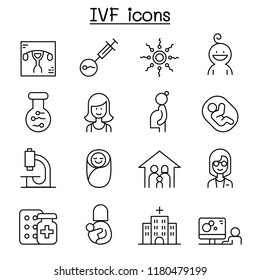 IVF, In Vitro Fertilization icon set in thin line style