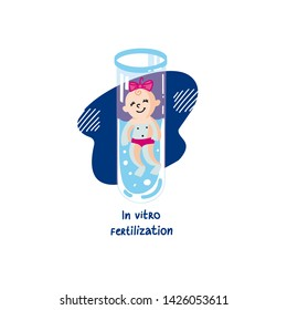 IVF, In vitro fertilization. Vector linear flat illustration. Baby girl embryo floats in a test tube. Colorful logo for Infertility Clinic, IVF Center. Infertile couple, fertility problem.
