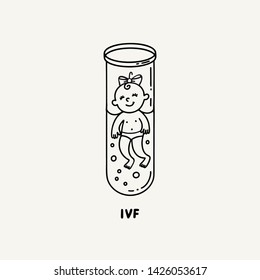 IVF, In vitro fertilization. Vector linear flat illustration. Baby girl embryo floats in a test tube. Outline logo for Infertility Clinic, IVF Center. Infertile couple, fertility problem.