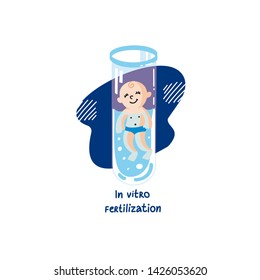 IVF, In vitro fertilization. Vector linear flat illustration. Baby boy embryo floats in a test tube. Colorful logo for Infertility Clinic, IVF Center.Infertile couple, fertility problem.