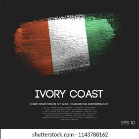 Ivory Coast Flag Made of Glitter Sparkle Brush Paint Vector