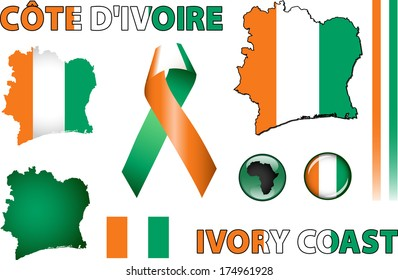 Ivory Coast Icons. Set of vector graphic images and symbols representing Ivory Coast. The text says 'Ivory Coast' in French.