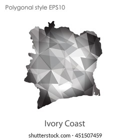 Ivory Coast map in geometric polygonal,mosaic style.Abstract gems triangle,modern design background. Vector illustration EPS10