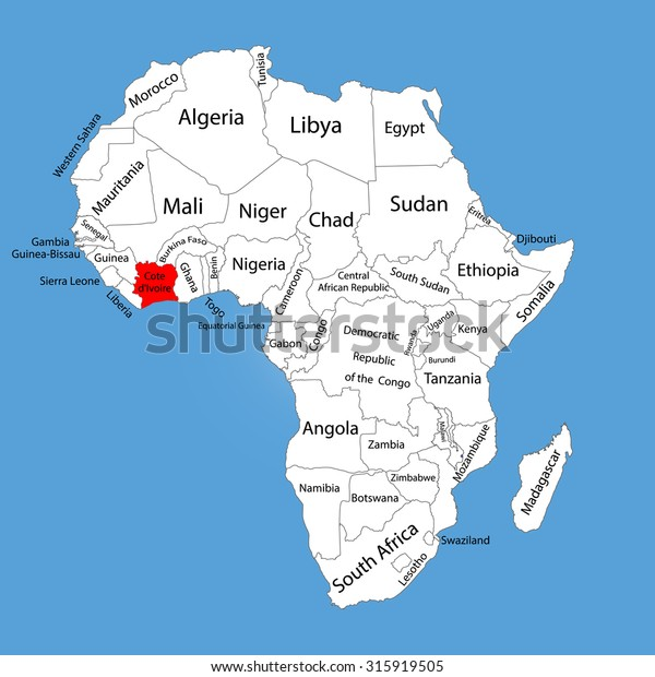 Ivory Coast Africa Map Ivory Coast Vector Map Silhouette Isolated Stock Vector (Royalty