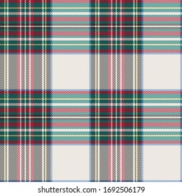 Ivory Ground Twill Plaid with Green, Red, Blue, Black & Yellow Seamless Vector Illustration
