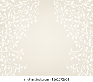 ivory and white background vector with ivy vine border design, pretty floral wedding announcement invitation or save the date background