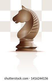 Ivory white chess knight on a background of chessboard cells. Chess knight figure. Horse symbol. Chess concept design. Realistic vector illustration