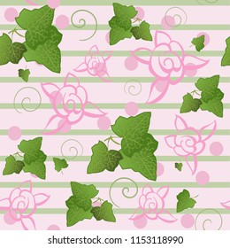 Ivy Roses pink green stripes seamless vector background