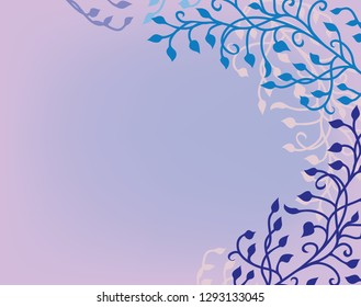 ivy vine background vector with floral leaves and curls design elements that are editable in soft romantic pastel purple pink and blue