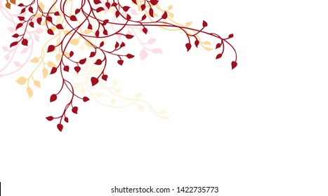 Ivy or vine corner design element isolated on white background, elegant autumn colors of burgundy red orange and yellow leaves and vines, nature vector border decoration