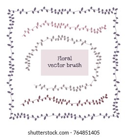 Ivy vine elegant floral pattern brush, vector. Seamless hand drawn brushes with inner and outer corner tiles.