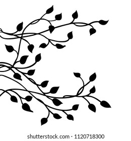 ivy vine silhouette vector, elegant black floral decorative side border design element of leaves in pretty layout, wedding invitation decoration isolated on white background