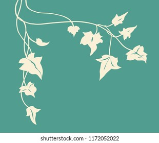 ivy vine silhouette vector, elegant beige or ivory floral decorative border or corner design element of leaves in pretty layout, wedding invitation decoration on fancy elegant teal blue background