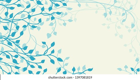 ivy and vines vector in blue green on a beige or yellow background in a pretty outline of leaves climbing up the side border in a floral nature vector pattern