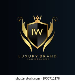 IW Letter Initial with Royal Template.elegant with crown logo vector, Creative Lettering Logo Vector Illustration.