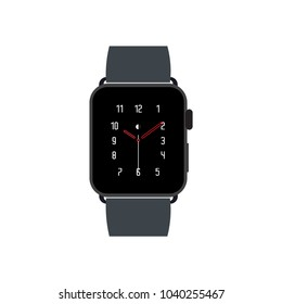 iWatch Apple Smart Watch Vector Digital Flat Icon in style. Black Design
