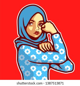 IWe can do it vector, Woman wearing hijab in classic Rosie the Riveter pose. - Vector