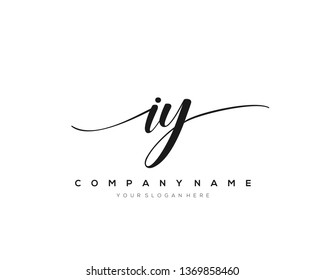 IY handwriting initial  logo vector - Shutterstock ID 1369858460