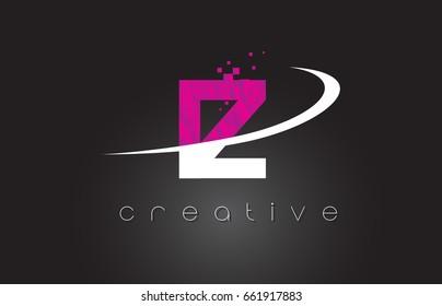 IZ I Z Creative Letters Design. White Pink Letter Vector Illustration.