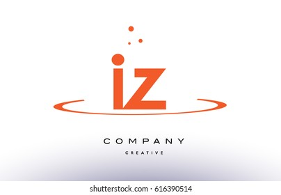 IZ I Z creative orange swoosh dots alphabet company letter logo design vector icon template