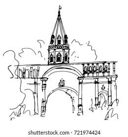 Izmailovo Kremlin, landscape drawing, sketch, illustration of Russia, Moscow