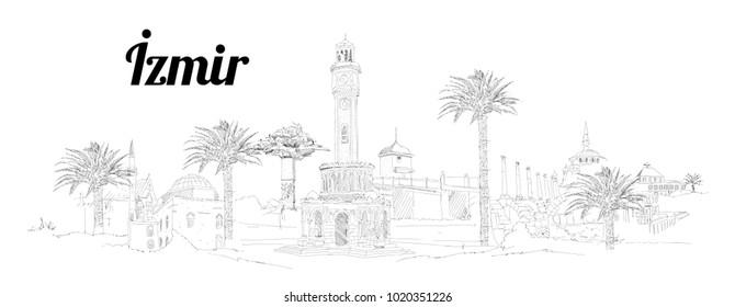 IZMIR city hand drawing panoramic illustration artwork