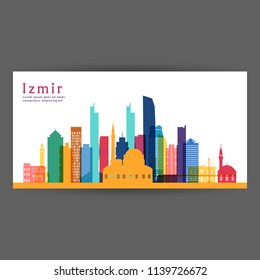 Izmir colorful architecture vector illustration, skyline city silhouette, skyscraper, flat design.