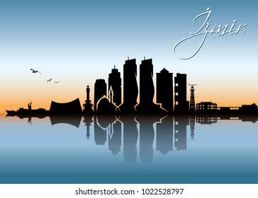 Izmir skyline - Turkey - vector illustration