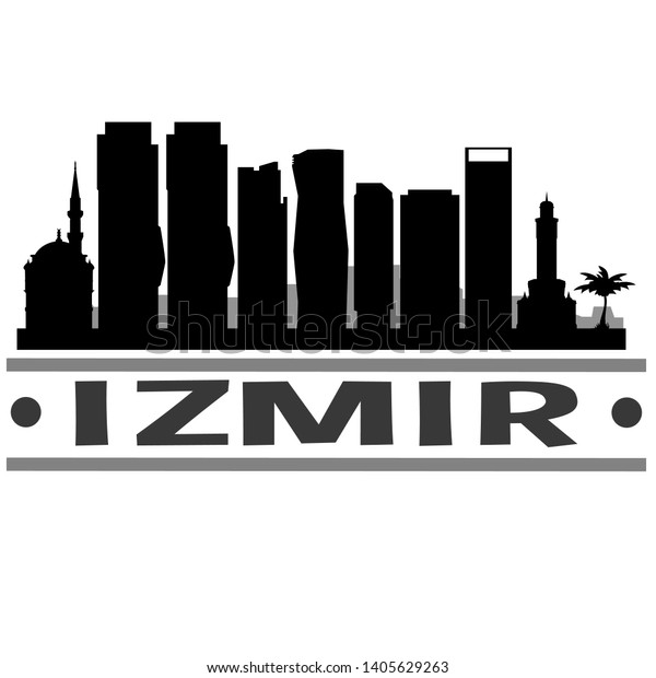 Izmir Turkey City Skyline Silhouette City Stock Vector Royalty Free 1405629263