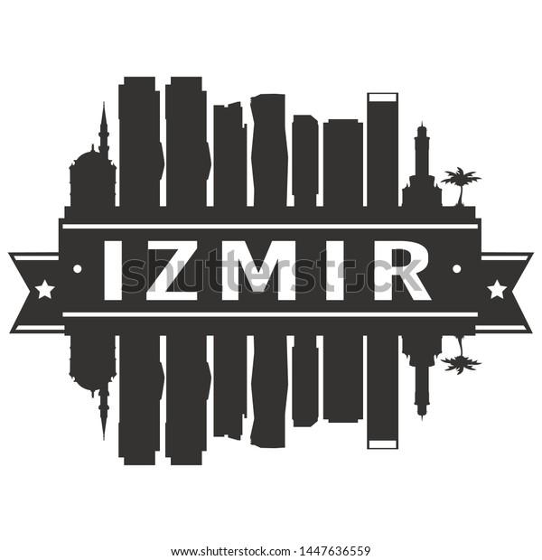Izmir Turkey Skyline Silhouette City Cityscape Stock Vector Royalty Free 1447636559