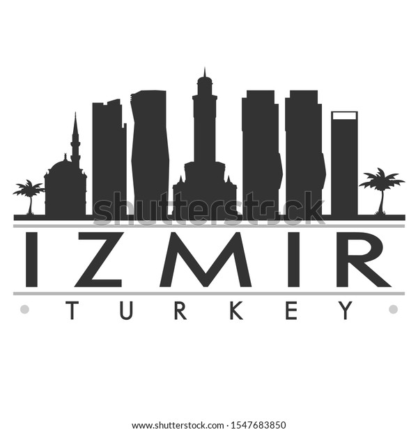Izmir Turkey Skyline Silhouette City Cityscape Stock Vector Royalty Free 1547683850