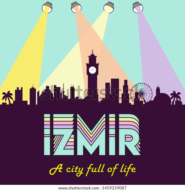 Izmir Turkey Skyline Silhouette Flat Design Stock Vector Royalty Free 1459259087