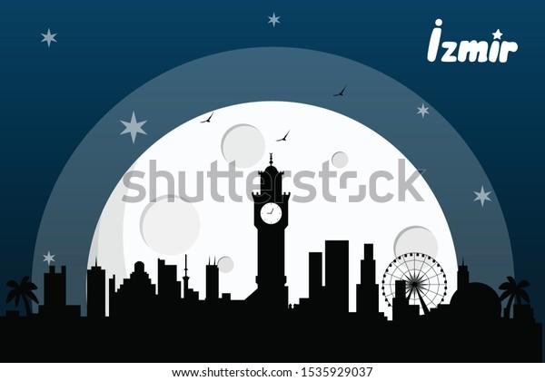 Izmir Turkey Skyline Silhouette Vector Design Stock Vector Royalty Free 1535929037