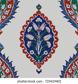 Iznik ethnic motif. Traditional Turkish floral blue ornament with carnations and forget-me-not flowers. Seamless pattern.