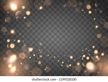 Izolated bright bokeh effect on a transparent background. Blurred light frame. Vector holiday design