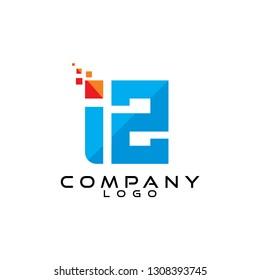 iz/zi letter tech/ict and it logo design vector