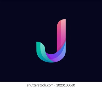 J Alphabet letter logo. Abstract Colorful logotype vector design template.